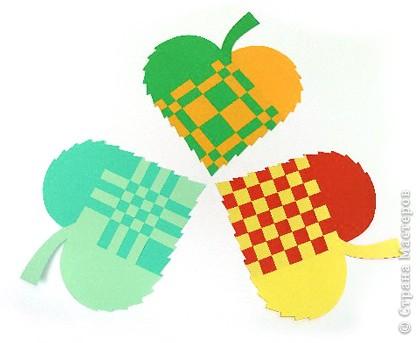 Плетеные сердечки-листья из
