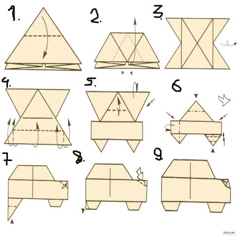 Оригами схема Машина