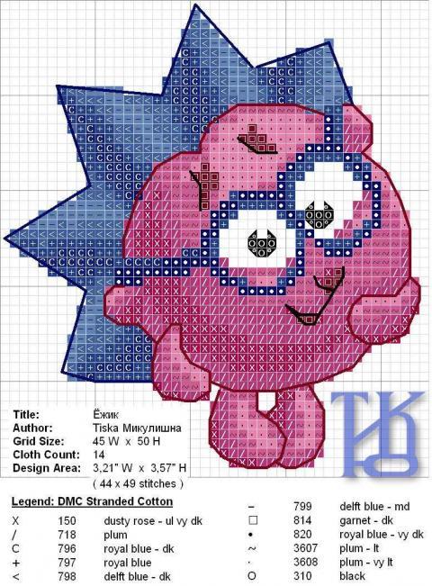 Схема вышивки крестом Ежик 2