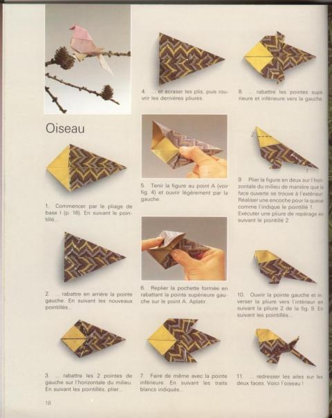 Оригами схема Птица