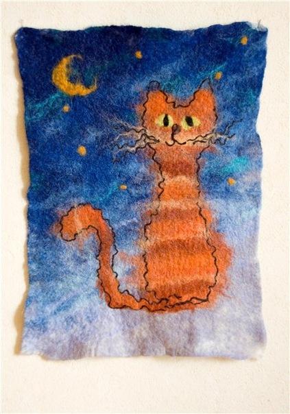 мастер класс мокрое валяние шерсти. картина с кошкой