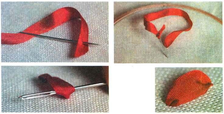 Вышивке лентами прямой стежок