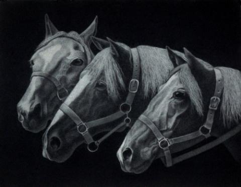 Картина из пуха Лошади