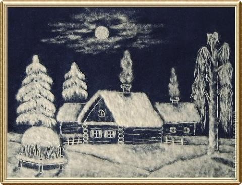 Пейзаж из тополиного пуха, фото, изображение. Штучки ручной работы созданные своими руками Рукоделие на Ручном
