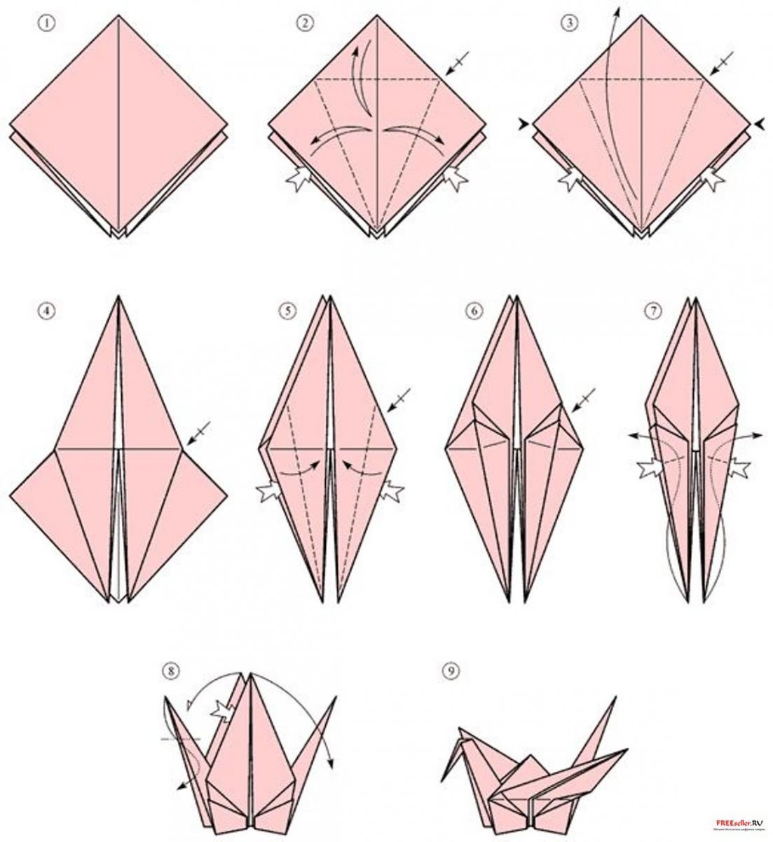 Журавль счастья оригами схема