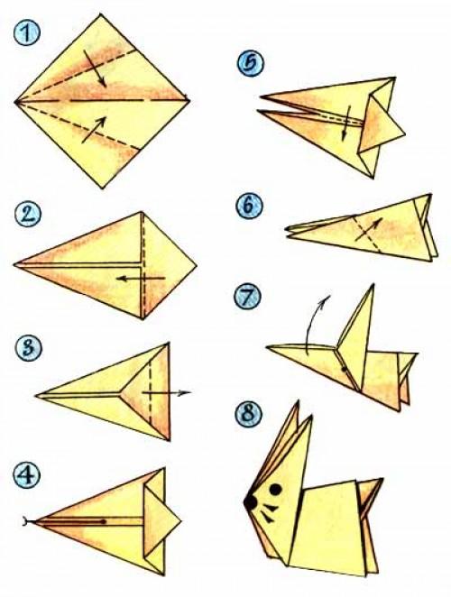 Оригами схема Заяц. Увеличить