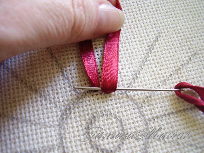 Как сделать узелок при вышивке с лентами