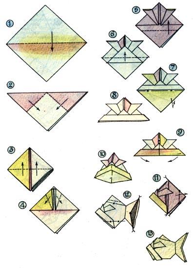 Оригами схема Рыба. Увеличить